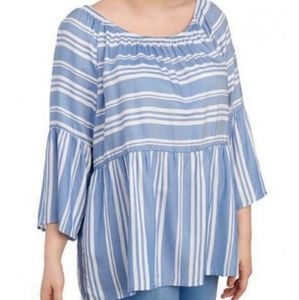 Plus size boho bell sleeve top